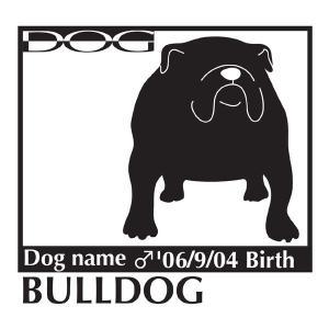 犬 ステッカーA ブルドッグ Mサイズ|walajin-dog