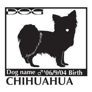 犬 ステッカーA チワワ ロング 横向きLサイズ|walajin-dog