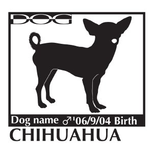 犬 ステッカーA チワワ スムース 斜め向きLサイズ|walajin-dog