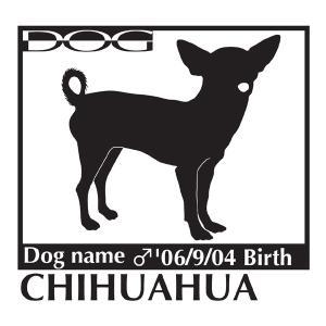 犬 ステッカーA チワワ スムース 斜向きMサイズ|walajin-dog