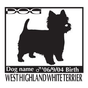 ドッグステッカーA ウエストハイランドホワイトテリア ・  ウエスティーのグッズ Mサイズ|walajin-dog