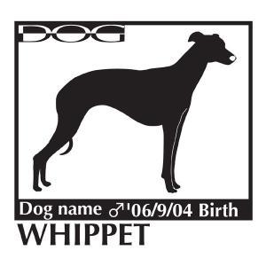 犬 ステッカーA ウィペット Lサイズ|walajin-dog