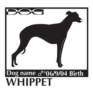 犬 ステッカーA ウィペット Mサイズ|walajin-dog