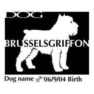 ドッグシールステッカーB ブリュッセルグリフォン Mサイズ walajin-dog