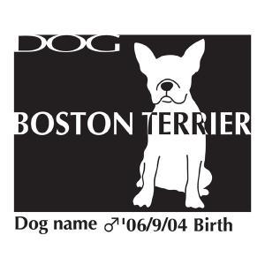 ドッグシールステッカーB ボストンテリア お座りLサイズ walajin-dog