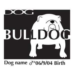 ドッグシールステッカーB ブルドッグ Mサイズ|walajin-dog
