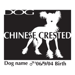 ドッグシールステッカーB チャイニーズクレステッドドッグ Lサイズ|walajin-dog