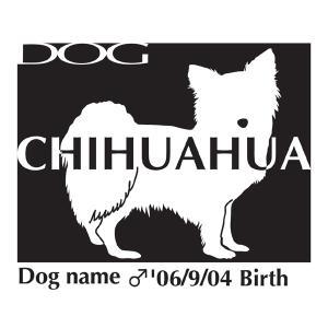 ドッグシールステッカーB チワワ ロング 横向きLサイズ|walajin-dog