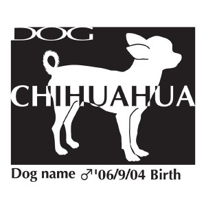 ドッグシールステッカーB チワワ スムース 横向きLサイズ|walajin-dog