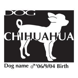 ドッグシールステッカーB チワワ スムース 横向きMサイズ|walajin-dog