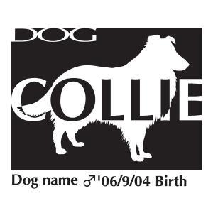 ドッグシールステッカーB コリー Mサイズ walajin-dog