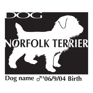 ドッグシールステッカーB ノーフォークテリア Mサイズ|walajin-dog