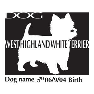 ドッグシールステッカーB ウエストハイランドホワイトテリア ウエスティー Mサイズ|walajin-dog