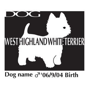 ドッグシールステッカーB ウエスト・ハイランド・ホワイト・テリア・ ウエスティー NEW Mサイズ|walajin-dog
