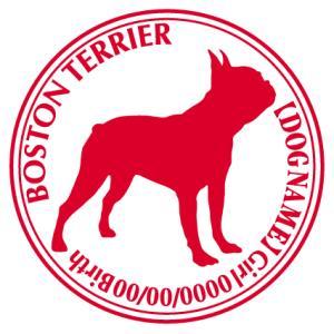 ボストンテリア横向き 犬 ステッカー Cパターン |walajin-dog