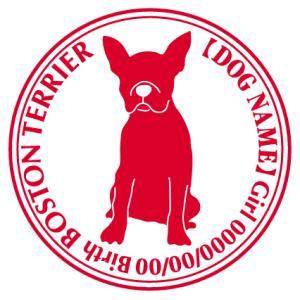 ボストンテリアお座り 犬 ステッカー Cパターン  walajin-dog