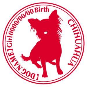 チワワ ロングお座り 犬 ステッカー Cパターン |walajin-dog