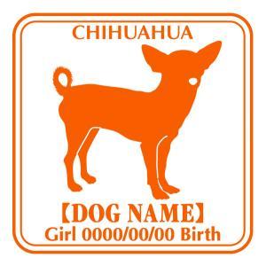 ドッグシールステッカーE チワワ スムース 正面タイプ|walajin-dog