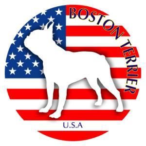 ドッグシールステッカーまる ボストンテリア 横向きLサイズ walajin-dog