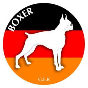ドッグシールステッカーまる ボクサー Lサイズ|walajin-dog