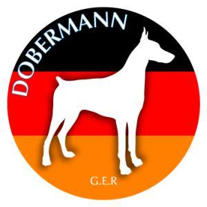 ドッグシールステッカーまる ドーベルマン Sサイズ 3枚1セット walajin-dog