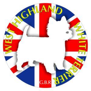 ドッグシールステッカーまる ウエストハイランドホワイトテリア Mサイズ 2枚1セット|walajin-dog