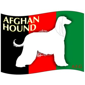 ドッグステッカーはた アフガン・ハウンド Mサイズ(2枚1セット)|walajin-dog