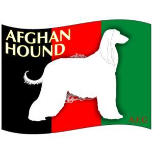 ドッグステッカーはた アフガン・ハウンド Sサイズ(3枚1セット)|walajin-dog