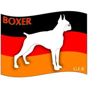 ドッグシールステッカーはた ボクサー Mサイズ 2枚1セット|walajin-dog