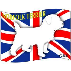 ドッグシールステッカーはた ノーフォークテリア Lサイズ|walajin-dog