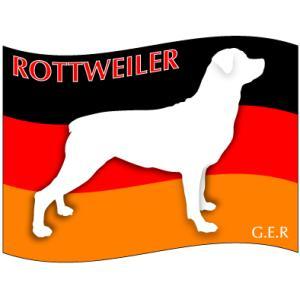 ドッグシールステッカーはた ロットワイラー Mサイズ(2枚1セット)|walajin-dog
