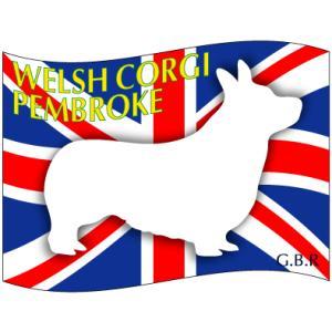 ドッグシールステッカーはた ウェルシュコーギーペンブローク Mサイズ(2枚1セット)|walajin-dog