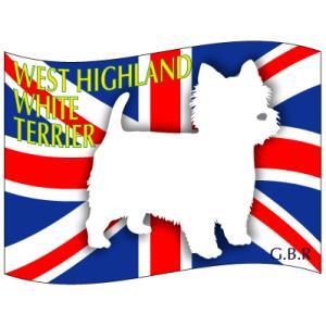 ドッグシールステッカーはた ウエストハイランドホワイトテリア Mサイズ 2枚1セット|walajin-dog