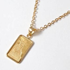 純金 インゴット ペンダント ネックレス シンプル爪枠 スイス製 リバティ