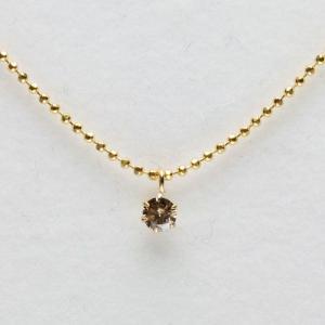 18金 ライトブラウンカラー ダイヤモンド ペンダント K1...