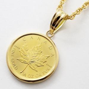 純金 コインペンダント ゴールド ネックレス 1/4オンス フセコミ枠 K24 メイプルリーフ 金貨 カナダ リバーシブル