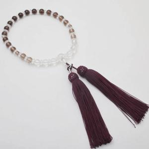念珠 数珠 レディース 天然石 茶水晶 スモーキークォーツ 7mm珠 正絹房 濃紫紺