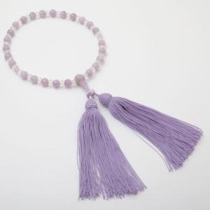 念珠 数珠 レディース 天然石 紫水晶 藤雲石 7mm珠 正絹房 藤