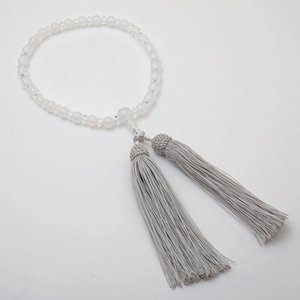 念珠 数珠 レディース 女性用 天然石 アゲート めのう 水晶 白瑪瑙 パワーストーン 正絹房 白銀