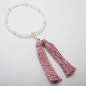 念珠 数珠 レディース 天然石 ローズクォーツ ホワイトカルサイト 7mm珠 正絹房 藤ピンク