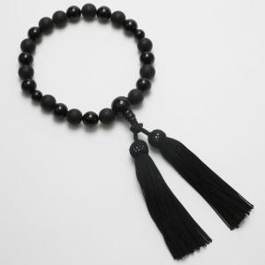 念珠 数珠 メンズ 男性用 天然石 黒オニキス ブラック 正絹房 黒