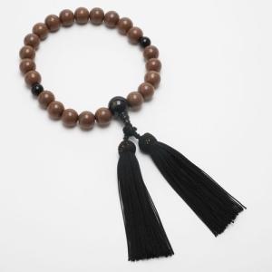 念珠 数珠 メンズ 男性用 天然石 正梅 金黒耀石 正絹房 黒