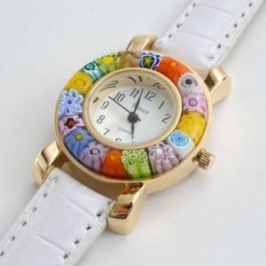イタリア製・ベネチアンガラス腕時計(ホワイト)