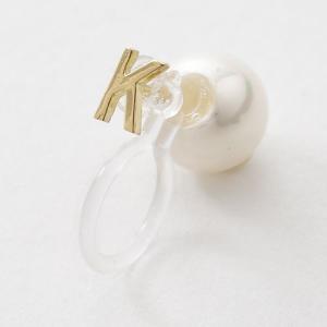Kデザイン 片耳 18金 K18 18K 貝パール パールイヤリング インビジブル 樹脂モチーフ イ...
