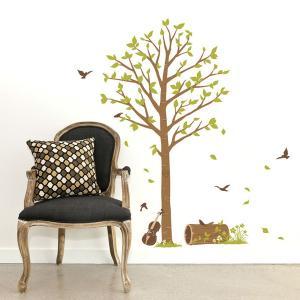 ウォールステッカー 壁 木 葉 鳥 静かな午後 貼ってはがせる のりつき 壁紙シール ウォールシール 植物 木 花 リメイクシート|wallstickershop