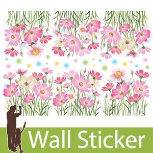 ウォールステッカー 花 フラワー おしゃれ かわいい 北欧 両面印刷 コスモス 花 ピンク 窓 ガラス ベランダ 子供部屋 リビング インテリア シール のり付き|wallstickershop