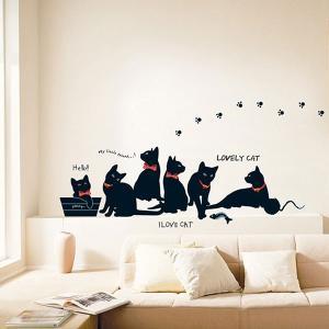 ウォールステッカー 壁 猫 猫と足あと 貼ってはがせる のりつき 壁紙シール ウォールシール リメイクシート|wallstickershop