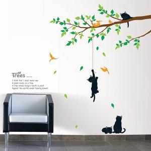 ウォールステッカー 壁 木 花 木で遊んでいる猫 貼ってはがせる のりつき 壁紙シール ウォールシール 植物 リメイクシート|wallstickershop