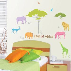 ウォールステッカー 壁 木 動物 アフリカの動物 貼ってはがせる のりつき 壁紙シール ウォールシール リメイクシート|wallstickershop