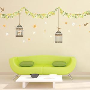 ウォールステッカー 壁 花 花と鳥かご 貼ってはがせる のりつき 壁紙シール ウォールシール 植物 木 花 リメイクシート|wallstickershop